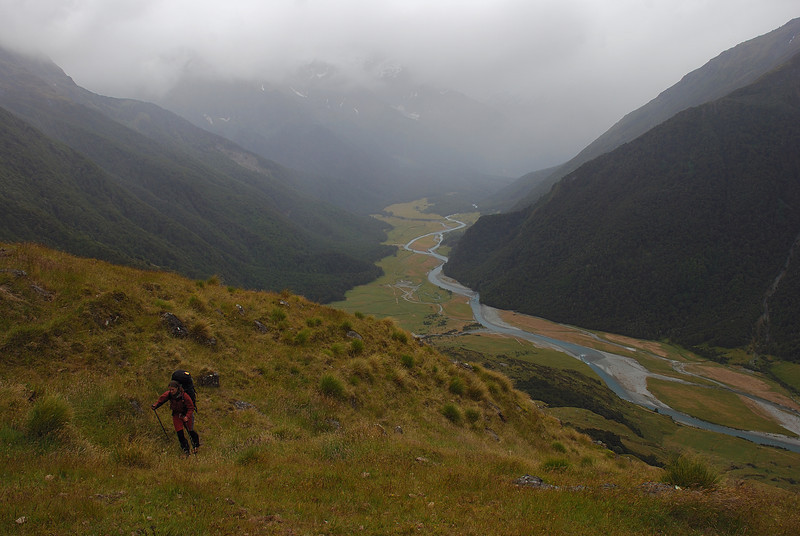 Gaining height above the Matukituki River West Branch, on the way to Shotover Saddle