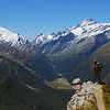 Posing on the Cascade Saddle route, high up above the Matukituki River West Branch