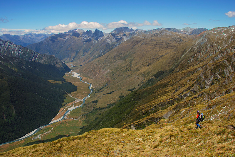Descending the Cascade Saddle route into the Matukituki Valley
