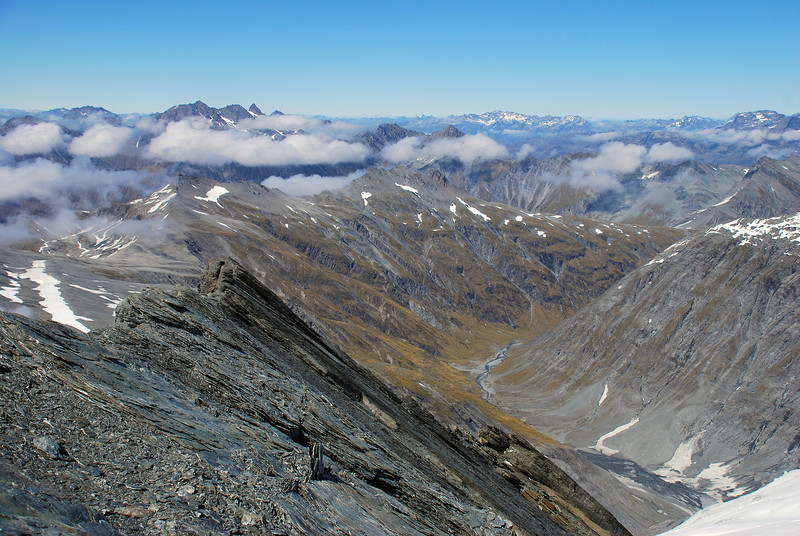 View into Snowy Creek from Mt Tyndall. Mt Bonpland is on the skyline, just right of centre image; the Centaur Peaks are on the left