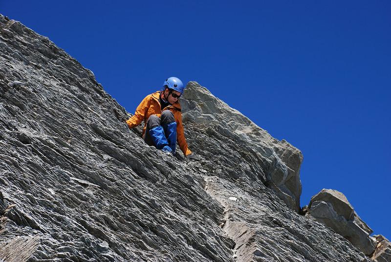 Descending choss on Mt Tyndall's summit