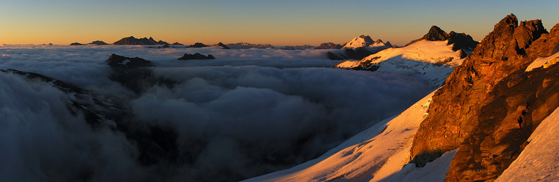 At sunrise on Mount Tyndall's west ridge. On the skyline are the Centaur Peaks, Mount Earsnlaw and Headlong Peak