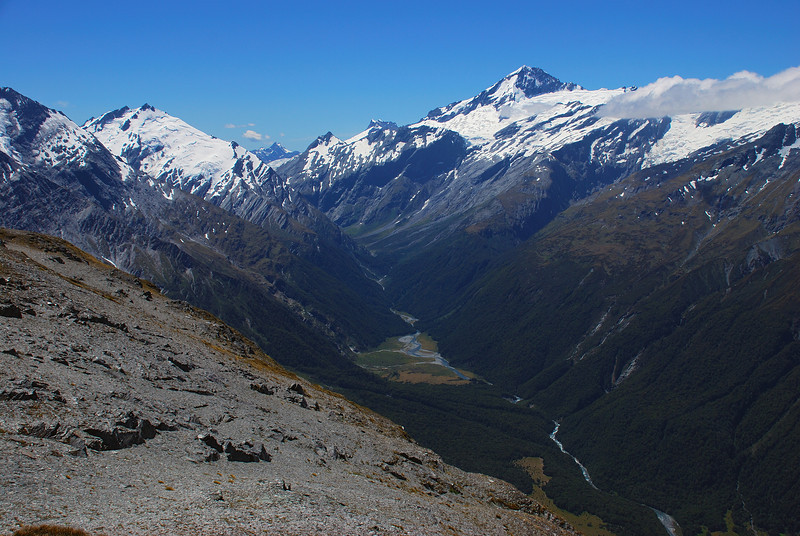 Matukituki River West Branch valley head, from the north ridge of Mt Tyndall