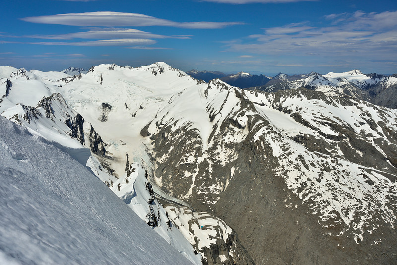 Mt Maoriri, Mt Edward and the Whitbourn Glacier from Mt Lydia