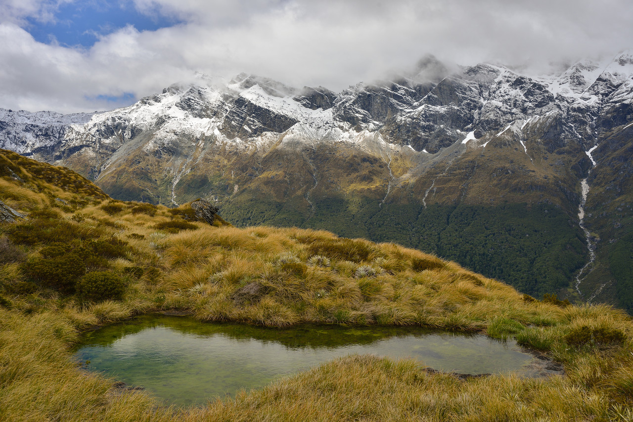 Tarn en route to O'Leary Pass. The Forbes Mountains in the back