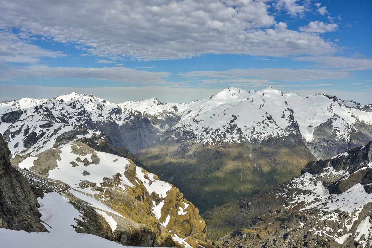 Albert Peak, Mt Gates, Climax Peak and Destiny Peak from the western slopes of Ferrier Peak