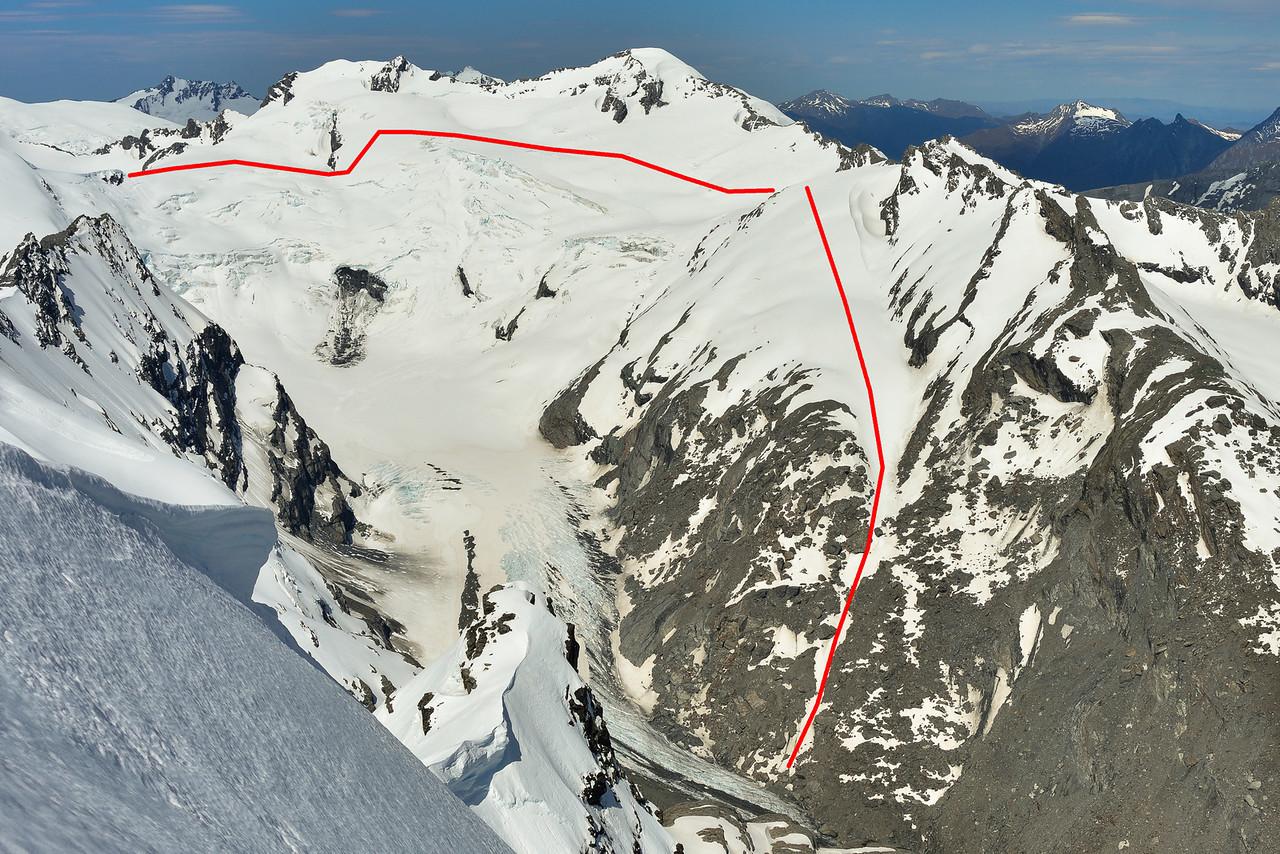 The Whitbourn Glacier route to Whitbourn Saddle