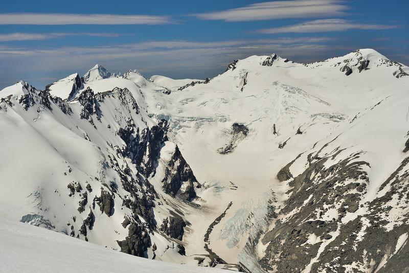 Mount Aspiring, Mount Maoriri, Mount Edward and the Whitbourn Glacier from Boys Col