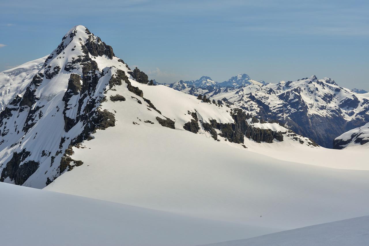 Geoff on the Marion Plateau, dwarfed by Mt Ian