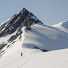Descending from Boys Col to Key Dome. Mt Amundsen above