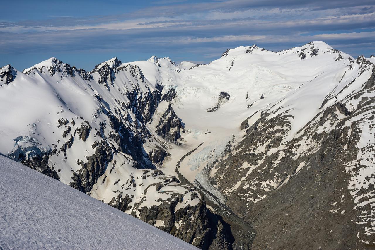The Whitbourn Glacier, Mt Maoriri and Mt Edward from Key Dome