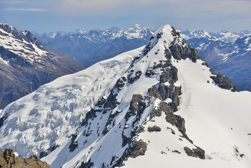 Mt Ian from Mt Lydia. The Hamilton Glacier on left