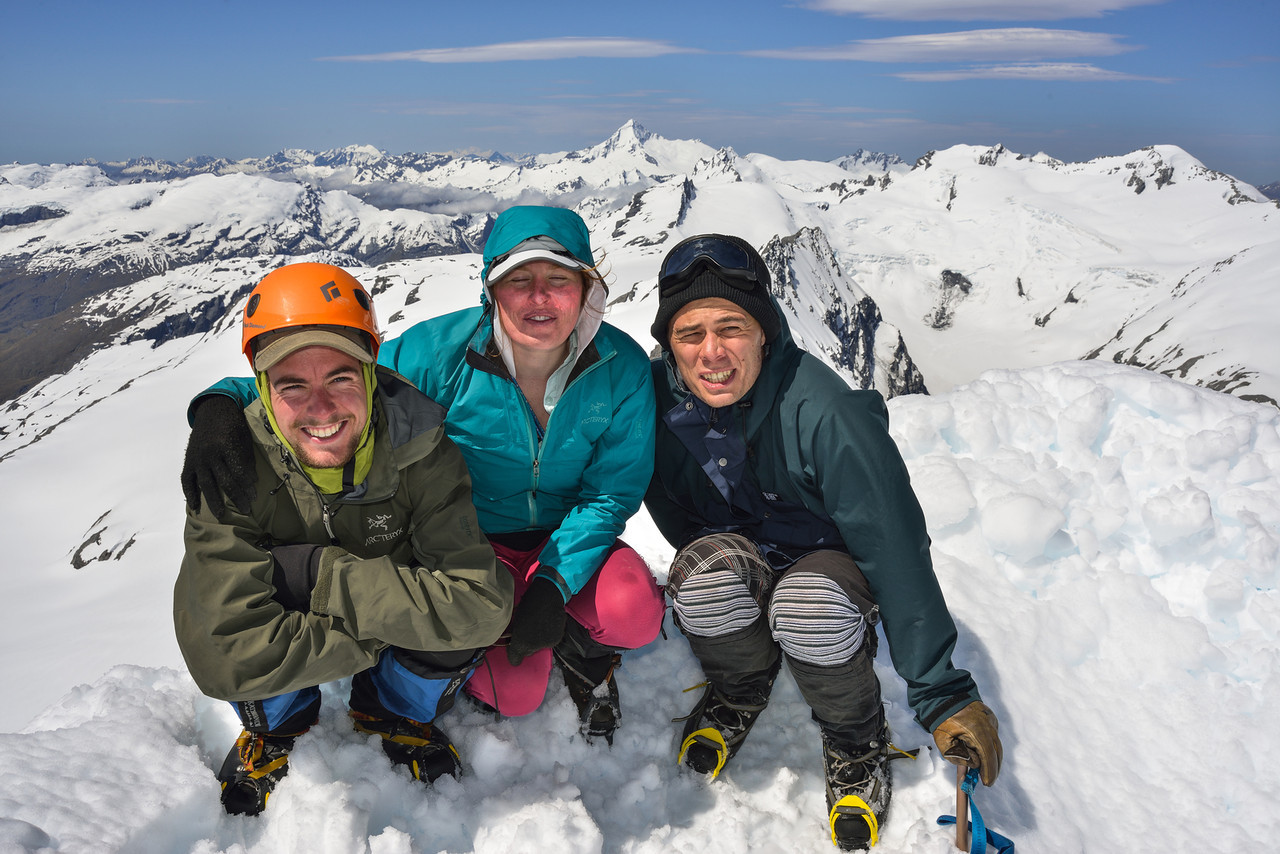 On the summit of Mt Lydia. A bit bright without sunglasses!