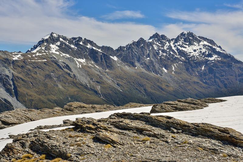 Mt Clarke, OSONZAC Twins, Moira Peak and Mt Head from Key Dome