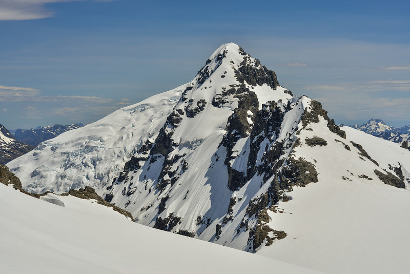 Mount Ian from Boys Col. The original route climbs the south-east facing snow slopes directluy below the summit. It still goes, but a schrund is opening across the couloir