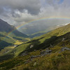 Rainbow over Cattle Flat, Dart River, while sidling out of the Blue Duck