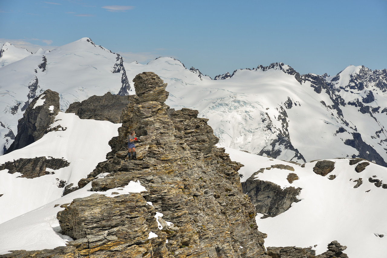 On the north west ridge of Mt Ian. Destiny Peak and Passchendale Peak in the back