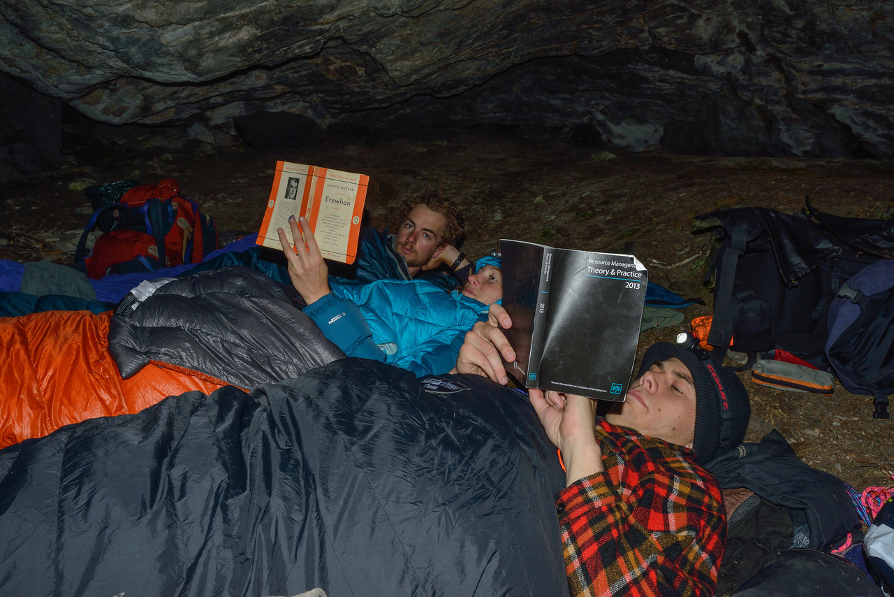 In the rock bivvy at Cattle Flat, Dart Valley. Reading time!