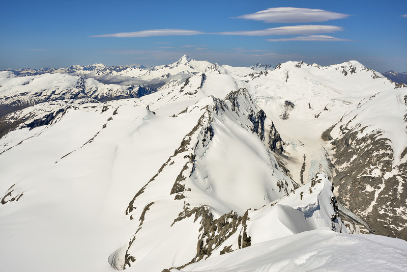 The Snowball Glaciers (left) and the Whitbourn Glacier (right) from the summit of Mt Lydia. Prominent peaks on the skyline are Mt Aspiring, Mt Maoriri and Mt Edward