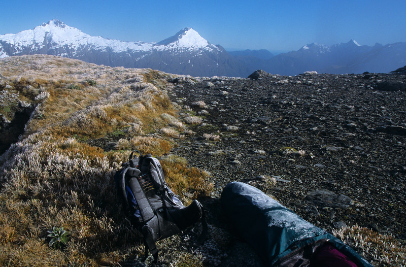A clear day after the storm on Matukituki Saddle. Tyler and Buncombe behind.
