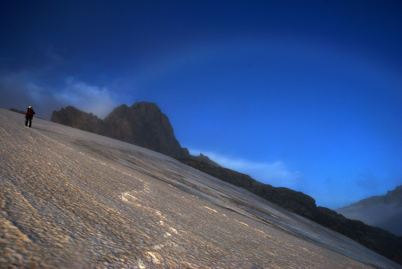 Cloud bow over Irvine Peak and the Merkl Glacier