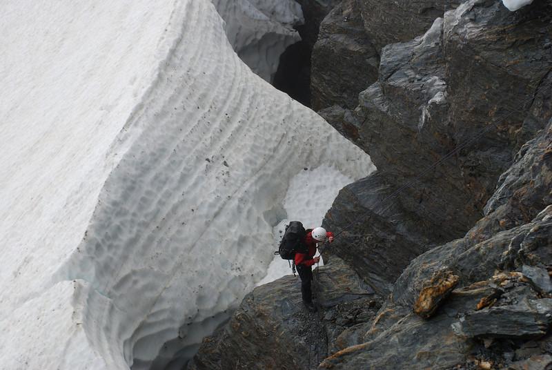 Jaz abseiling off Irvine Peak