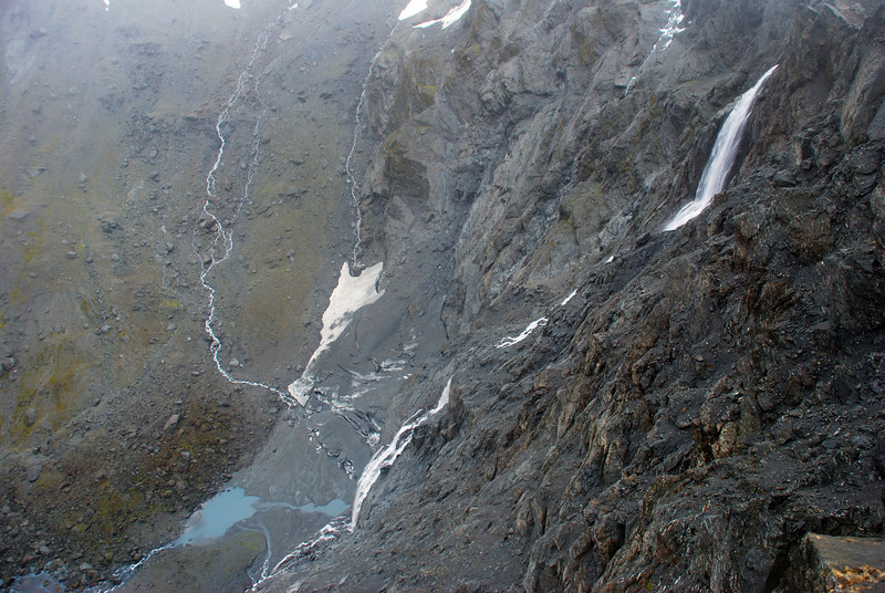 Looking down the 430m waterfall flowing out of the McBride Ice Plateau