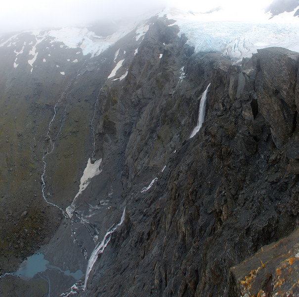 The 430m waterfall flowing out of the McBride Ice Plateau