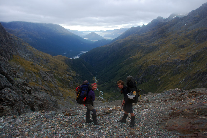 Nina and Jaz on the way to the McBride Ice Plateau. The gorge of the McBride Burn below, with the Dart River and Mt Alfred behind.