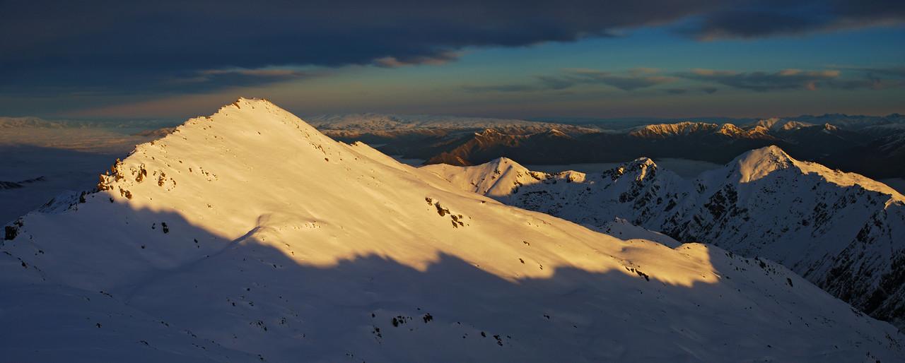 Sunset on unnamed peak 2227m and the Buchanan Peaks