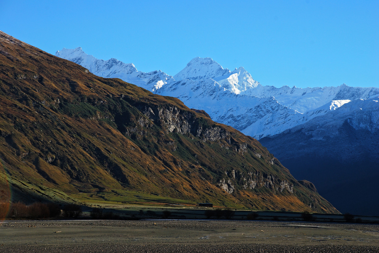 Mount Avalanche and Mount Aspiring from the Matukituki River flats near Round Hill