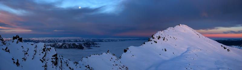 Looking east over unnamed peak 2227m at dusk
