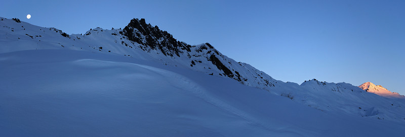 Moonrise over the south ridge of Mount Alta