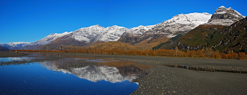 Treble Cone and Black Peak from the Matukituki River flats near Round Hill