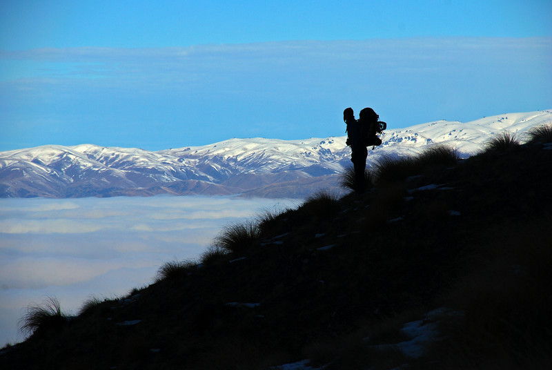 On Daniels Spur, about to dive into the carpet of cloud covering Lake Wanaka