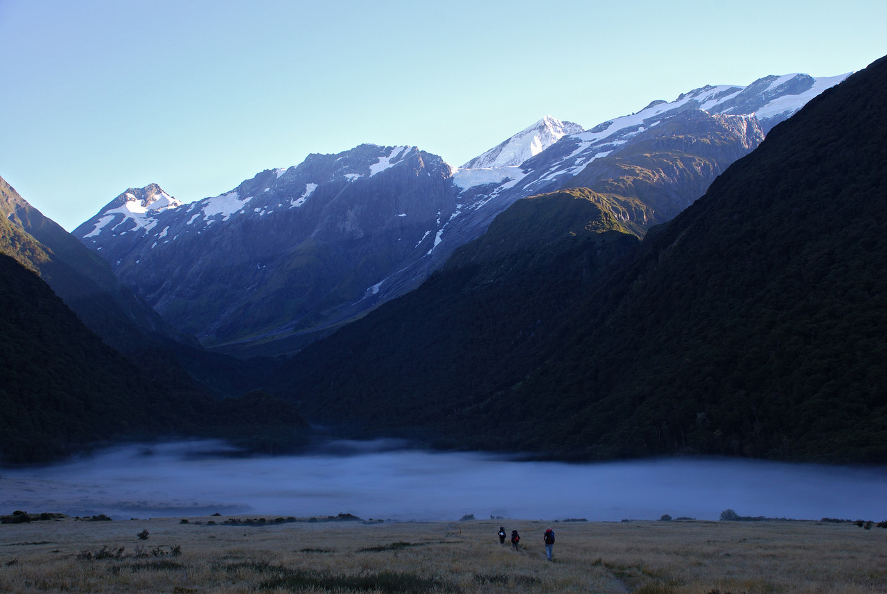 Early morning at Shovel Flat, West Matukituki Valley