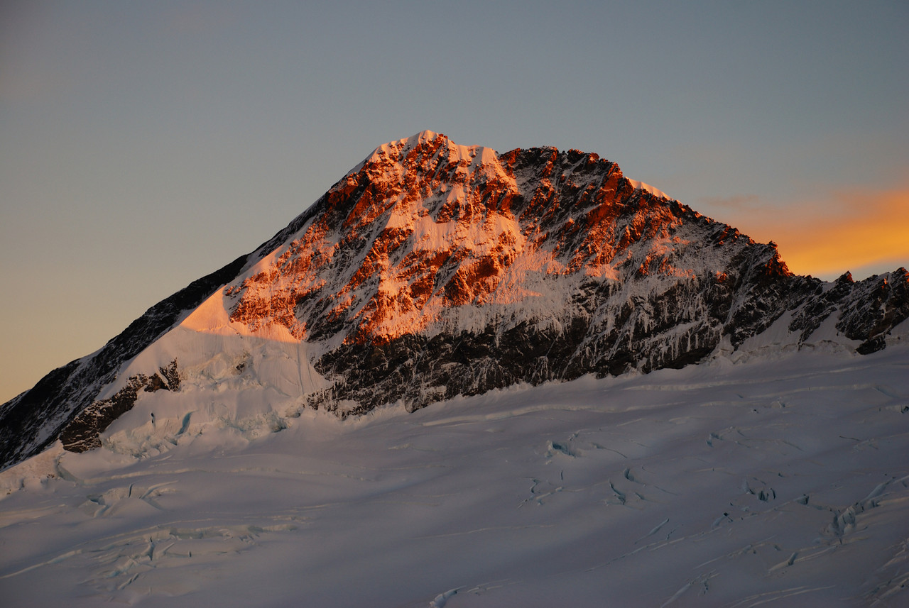 First day-light on Mt Aspiring. Picture taken from inside my sleeping bag (lazy photographer series continued)