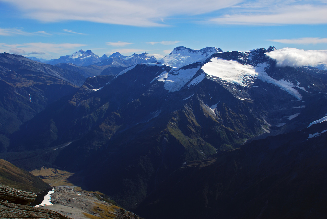 Looking west from Mt French: Mt Anstead, the Forbes Mountains, Mt Edward, Mt Maoriri, Mt Liverpool, Mt Maori