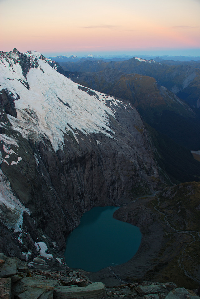 The lake at the head of the Kitchener. Aeroplane Peak and the Kitchener Glacier above.