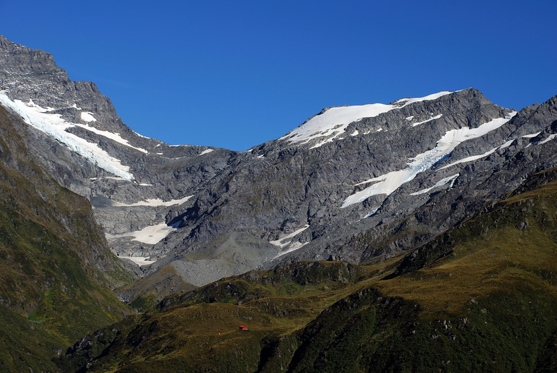 Liverpool Hut and Arawhata Saddle from French Ridge