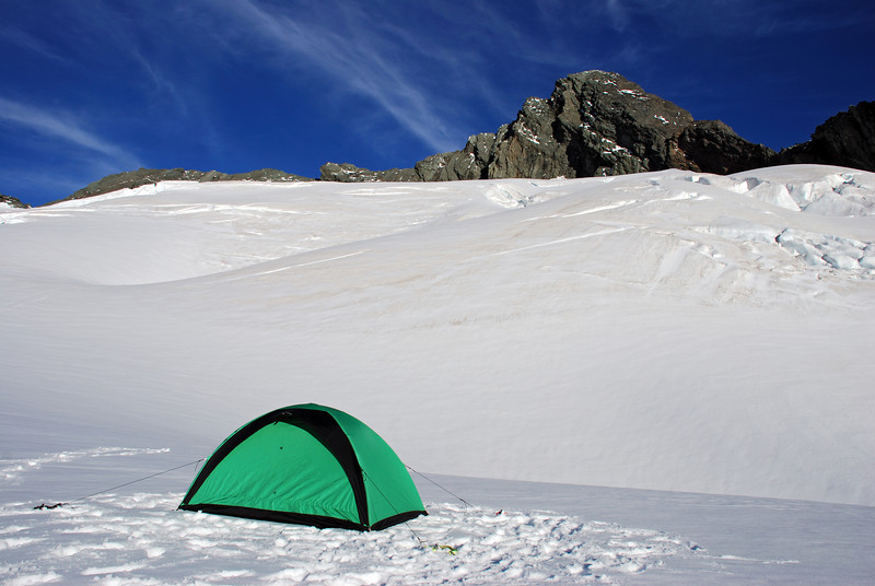 Campsite on the Bonar Glacier, at the foot of Mt Avalanche