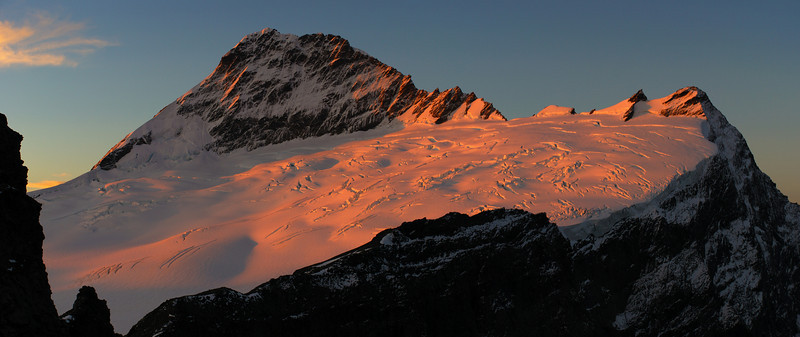 Mt Aspiring and Popes Nose at sunset. View from the edge of the Kitchener Cirque.