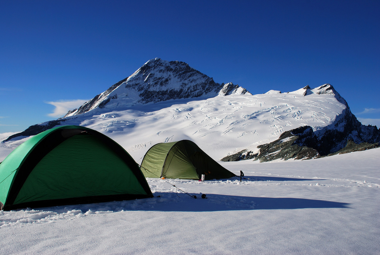 Campsite on the Bonar Glacier. Mt Aspiring and Popes Nose behind.
