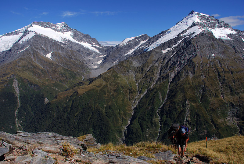 On French Ridge. Mt Liverpool, Arawhata Saddle and Mt Barff in the background.