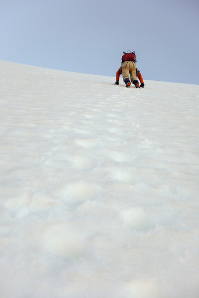 Descending the steep snow slopes off the summit of Mt Awful