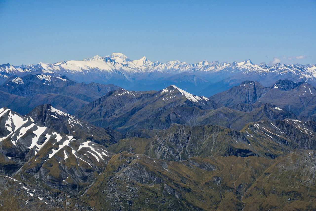 View from the summit of Mt Awful - looking north to Aoraki / Mount Cook and Mt Ward