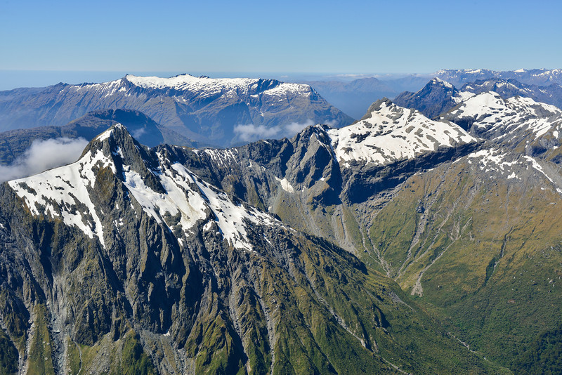 View from the summit of Mt Awful - Young Peak and Misty Peak (foreground) and the Marks Range (back)