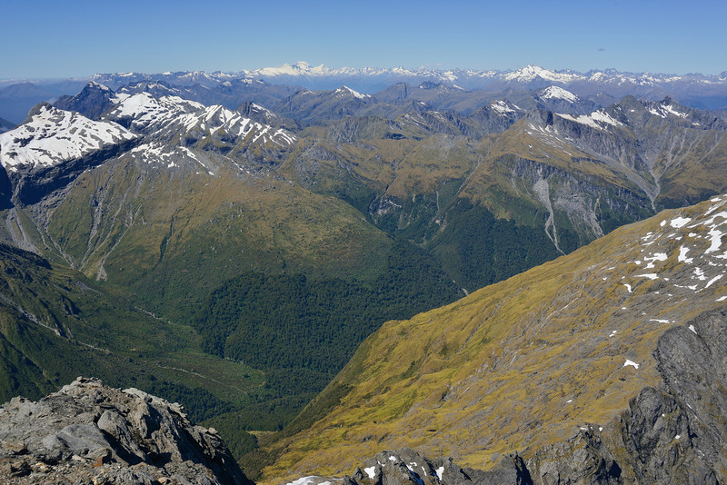 View from the summit of Mt Awful - looking north across the Young River North Branch to Aoraki / Mount Cook (centre left) and Mt Brewster (right)