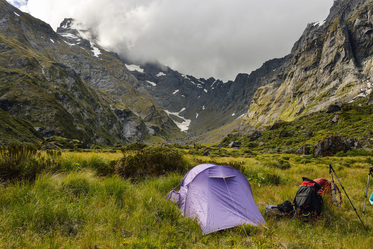 Young Basin campsite. Mount Awful in cloud top left