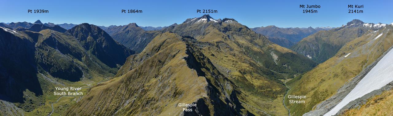 Panorama from Mt Awful's SE ridge